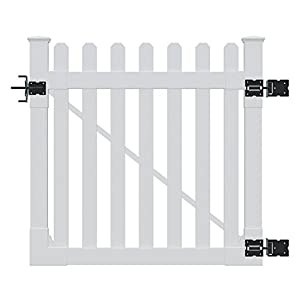 WamBam Traditional 4 by 4-Feet Premium Classic Vinyl Picket Gate with Powder Coated Stainless Steel Hardware