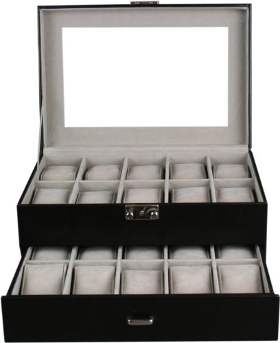 Shining Image Kendal Watch Case Display Box With Clear Glass Top Holds 20 Watches lock w/ key