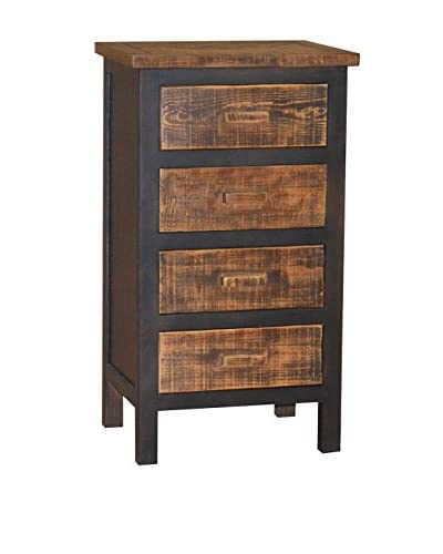 Gallerie Décor Woven Wood 4-Drawer Cabinet, Espresso