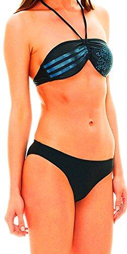 Adidas Inf 3S Graphic Bandeau Bikini, dark onix/solar blue - grau/blau - 38