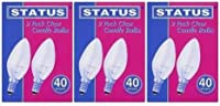 2 X 6 x STATUS 40W Classic Clear SES E14 Candle Light Bulbs, Small Edison Screw Cap, Dimmable Incandescent Lamps, 390 Lumen, Mains 240V by STATUS