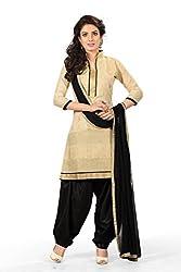 BanoRani Chanderi Beige & Black Color Semi Stitched Patiyala Salwar Suit