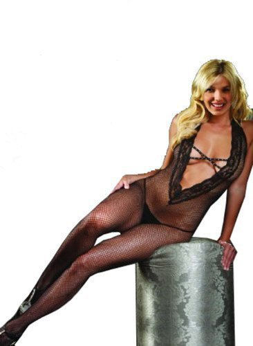 Juliet's Kiss Sexy Elegant Lace Fishnet See Black Bodystocking Bedroom Lingerie