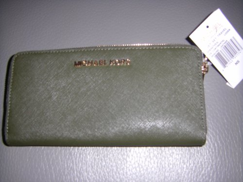 Michael Kors Jet Set Travel Za Continental Genuine Leather Wallet Loden Olive