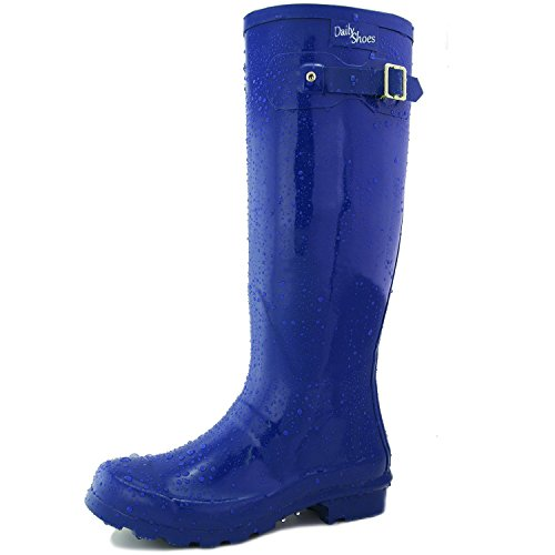 Women's DailyShoes Knee High Hunter Rain Round Toe Rainboots, Blue, 9 B(M) US (Silver Blue Rain Boots compare prices)