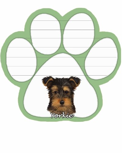 Yorkie Pup Notepad With Unique Die Cut Paw Shaped Sticky Notes 50 Sheets Measuring 5 By 4.7 Inches Convenient Functional Everyday Item Great Gift For Yorkie Pup Lovers And Owners
