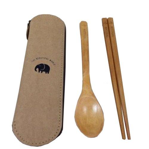 Vie vaisselle vaisselle Portable en bois baguettes et cuillère (éléphant)