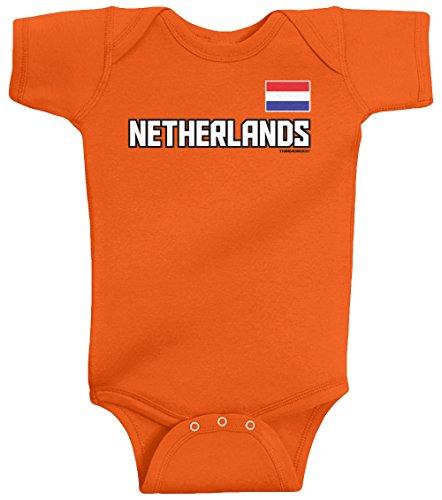 Threadrock Unisex Baby Netherlands National Team Bodysuit 12M Orange front-167966