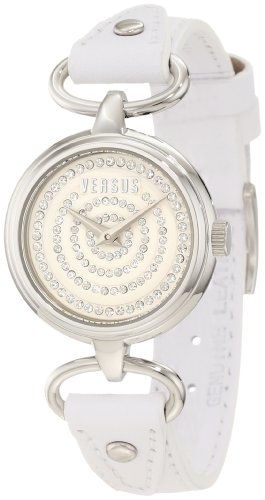 Versus by Versace Women's 3C68200000 Versus V White Crystal Dial Genuine Leather Watch