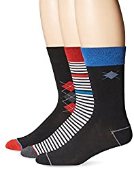 U.S. Polo Assn. Men's 3 Pack Argyle Stripe Crew Sock, Black, 10-13/6-12