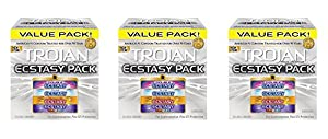 Trojan Ecstasy QNTqS Pack Lubricated Condoms, 26 Count (3 Pack) hslGp