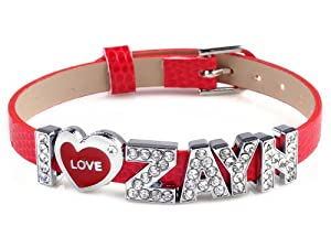 I Love Zayn I Love One Direction Red Wristband Bracelet Slider Zircon Crystal Letter from Yiwu City Yinuo E-Commercial Business Co.,Ltd