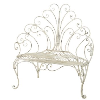 Midwest CBK Peacock Scroll Back Bench in Distressed Cream Finish