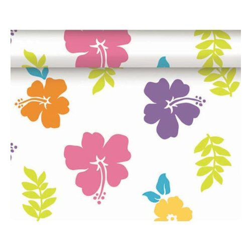 "Amscan Reusable Waterproof Plastic Table Cover Roll in White with Colorful Hibiscus Print Perfect for Large Gatherings, 100 ' x 40"", Multicolored"