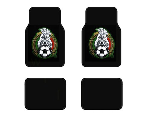 A Set of 4 Universal Fit Plush Carpet Floor Mats - Mexican Football Federation Crest