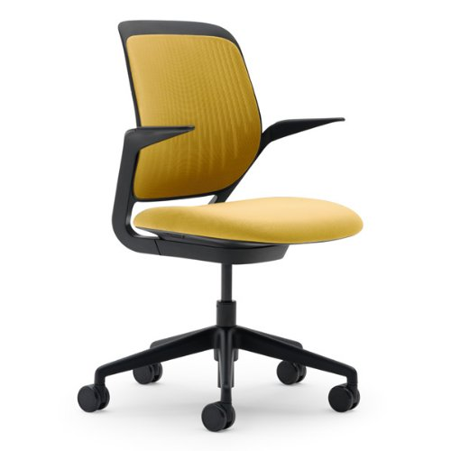 Cobi Chair by Steelcase - Black Frame and Base - Fixed Arms - Carpet Casters - Tumeric