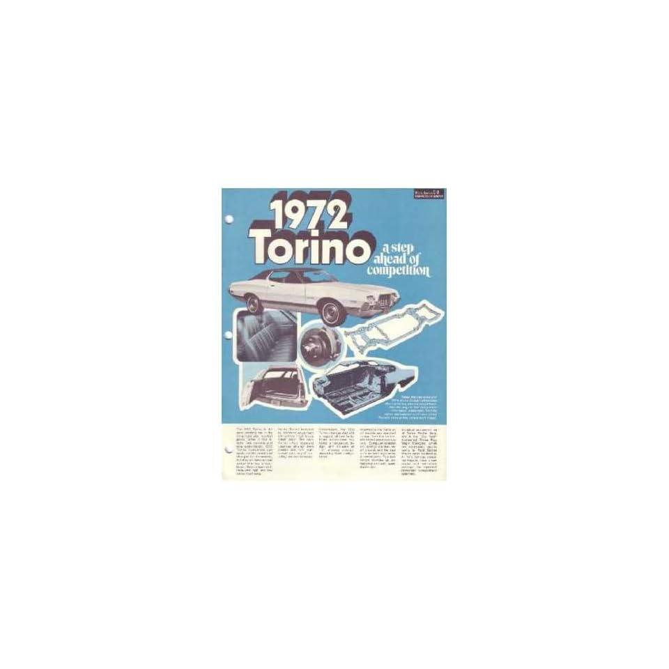 1972 Ford Torino Sales Brochure Literature Book Piece Advertisement Specs Option