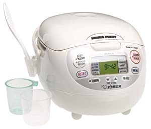 Zojirushi NS-ZCC10 5-1/2-Cup (Uncooked) Neuro Fuzzy Rice Cooker and Warmer, Premium White, 1.0-Liter