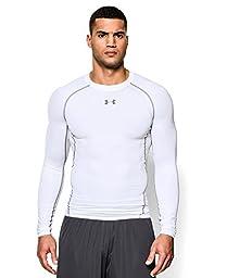 Men\'s Under Armour HeatGear Armour Long Sleeve Compression Shirt, White (100), Medium