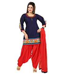 Ritu Creation Women's New Cotton Stitched Fancy Patyala Suit With Fancy Sleeve Embroided Work(Navy Blue)