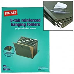 20 Staples 5-Tab Hanging File Folders Letter Size Paper Filing Hangable