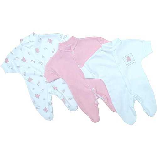 Premature Early Baby Clothes Pack of 3 Sleepsuits / Babygros 0-1.5lb,3.5lb,5.5lb,7.5lb Pink