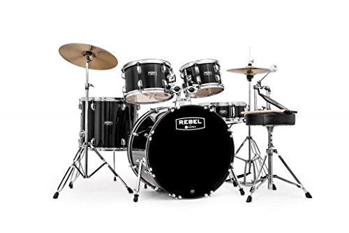 mapex-rb5294ftcdk-rebel-5-piece-drum-set-with-hardware-and-cymbals-black-with-22-inch-bass-drum