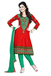 Kimisha Red Cotton Embroidered Anarkali Dress Material