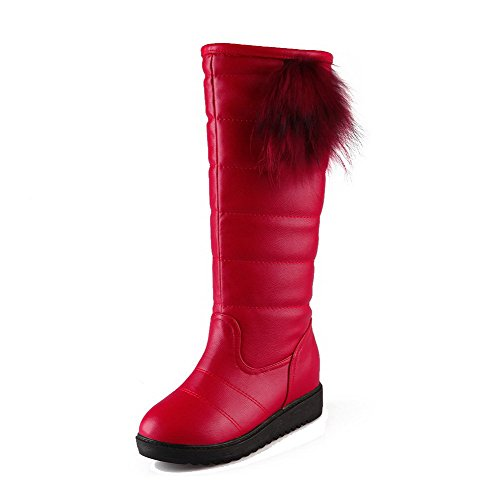 voguezone009-womens-high-top-solid-pull-on-round-closed-toe-kitten-heels-boots-red-35