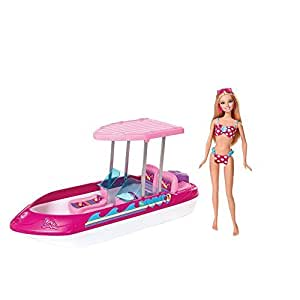 Amazon.com: Barbie Glam Boat With Canopy and 1 Doll Seats 4: Toys
