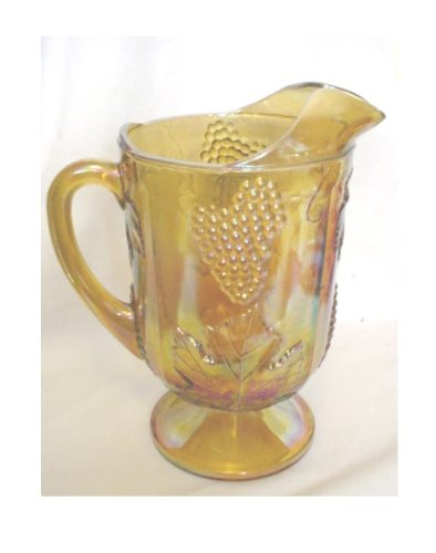 Vintage Marigold Carnival Glass Harvest Grape Design Pitcher by Indiana Glass Company Harvest Grape Carnival Glass