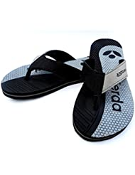 Kanchan Men's Black/Grey Flip Flops And House Slippers