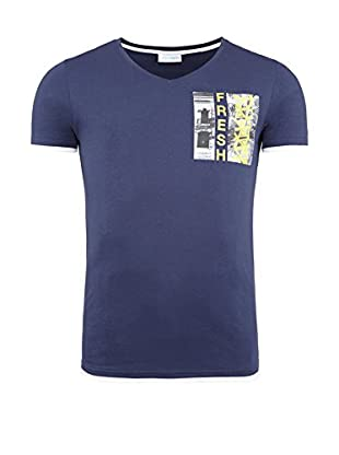 SUMMERFRESH Camiseta Manga Corta Florida (Azul Oscuro)
