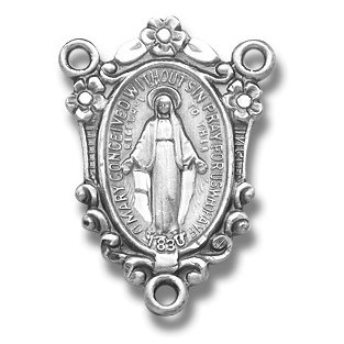 Miraculous St. Mary Mother of God Centerpiece parts for Rosary Rosaries in Sterling Silver