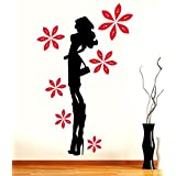 Hoopoe Decor Fashion Girl Wall Stickers And Wall Decals, Best Wall Arts For Home Decoration - Black