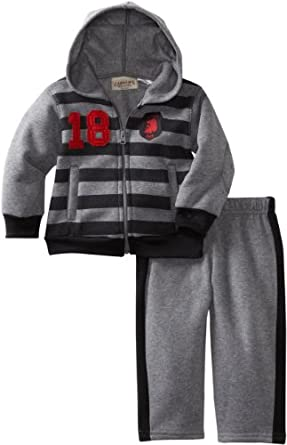 Carters Watch the Wear Boys 2-7 Striped Fleece Hoodie Set, Grey, Medium/12