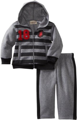 Carters Boys 2-7 Striped Fleece Hoodie Set, Grey, Medium/12