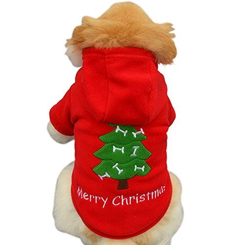ELINKMALL Christmas Pet Puppy Dog Clothes Santa Claus Costume Outwear Thick Coat Apparel