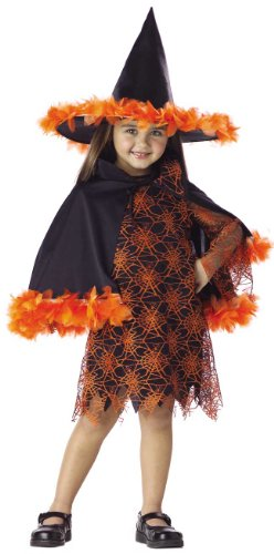 Kid's Toddler Orange and Black Witch Halloween Costume (2-4T)