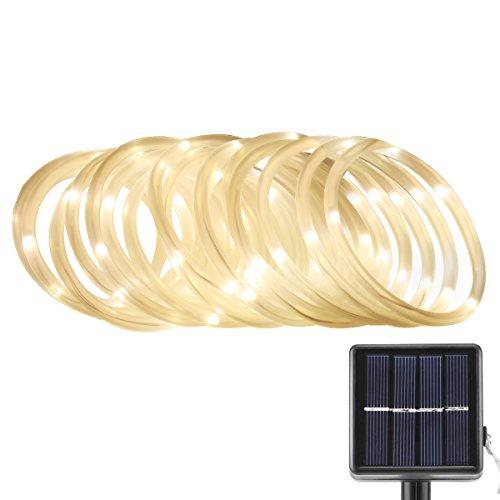 LE Corda Luminosa Impermeabile 50 LEDs 7m Luci Solari Strisce LED 3000K Bianco Caldo