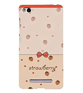 PrintVisa Strawberry & Bow Pattern 3D Hard Polycarbonate Designer Back Case Cover for Xiaomi Redmi Mi4i