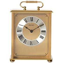 Seiko Desk and Table Carriage Clock Gold-Tone Solid Brass Base and Top
