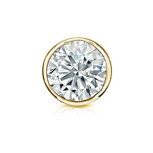 14K Yellow Gold Bezel Round Diamond Single Stud Earring (1/4 Cttw, H-I, I2-I3) Screw Back