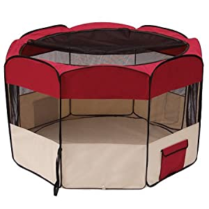 "XL 57-inch Diameter x 36½"" Height Octagon Pet Playpen Dog Pup Exercise Pen Canine Train Kennel Red w/ Mesh Cover Panels Zipper Doors Case Portable Indoor Outdoor"