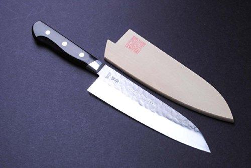 Yoshihiro 180Mm Saya Cover Aoko Stain Resistant Steel Santoku Japanese Knife, 7-Inch, Blue