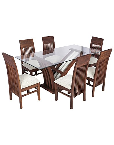 SMARVVV PRODUCTIONS Six Seater Dining Set (Brown & White)