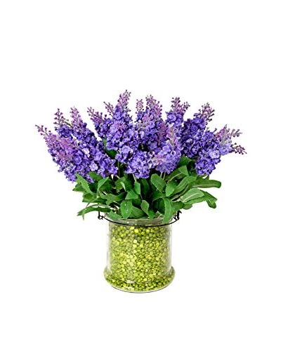 Creative Displays Astilbe in Glass Container with Iron Handle, Lavender/Green