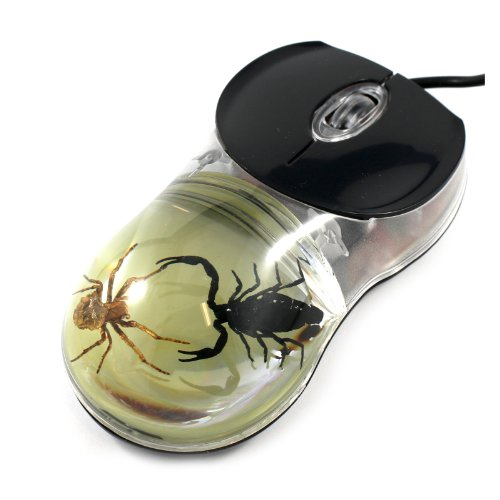 Fighting Scorpion & Spider Computer Mouse with Glow in the Dark Background