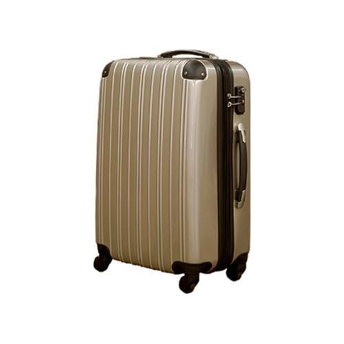 軽量ファスナータイプ キャリーバッグ キャリーケース スーツケース 5032 大型・中型・セミ中型・小型(レインボーベルト付き・保証付き・TSAロック搭載) (S, ゴールド)