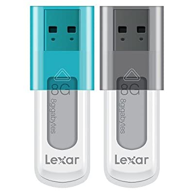 Lexar 8GB Twist Turn USB Flash Drive 2 Pack - Black/Blue